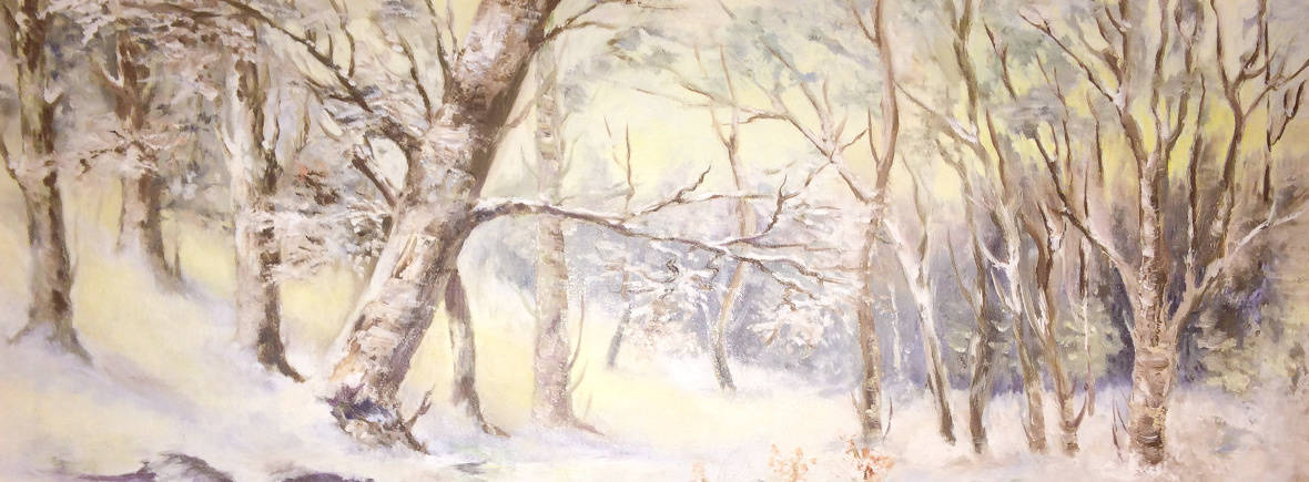 Winter forest oil painting project
